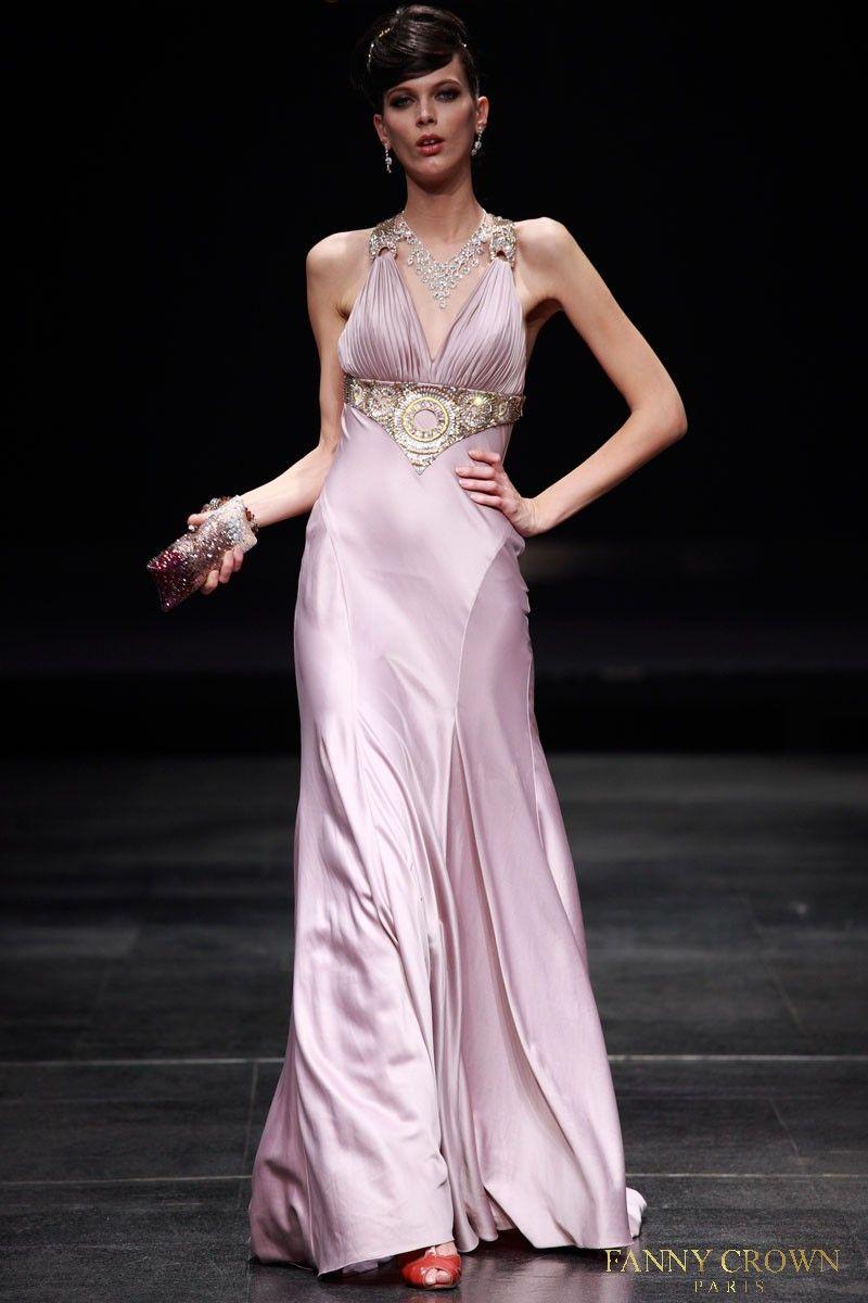 Pink Deep-V-Neck Halter-Top Floor-length Evening Dress | Fanny Crown