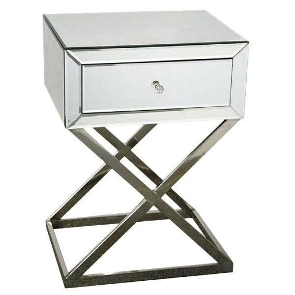 mirrored venetian bedside table cross leg 180