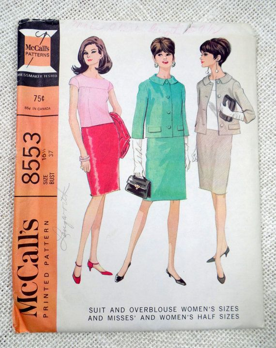 e3b7f5ca37 Vintage Pattern McCall's 8553 1960s 1964 Ladies skirt suit Bust 37 Large  boxy cropped jacket Jackie Kennedy Onassis pencil skirt