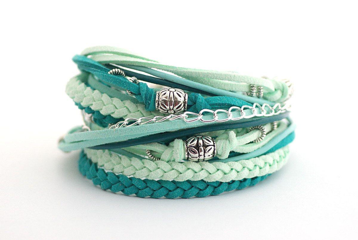 Mint Teal Wrap Bracelet,Ice Mint Teal Boho Bracelet, Summer Bracelet, suede, double wrap, boho chic by cardioceras on Etsy https://www.etsy.com/listing/227569756/mint-teal-wrap-braceletice-mint-teal