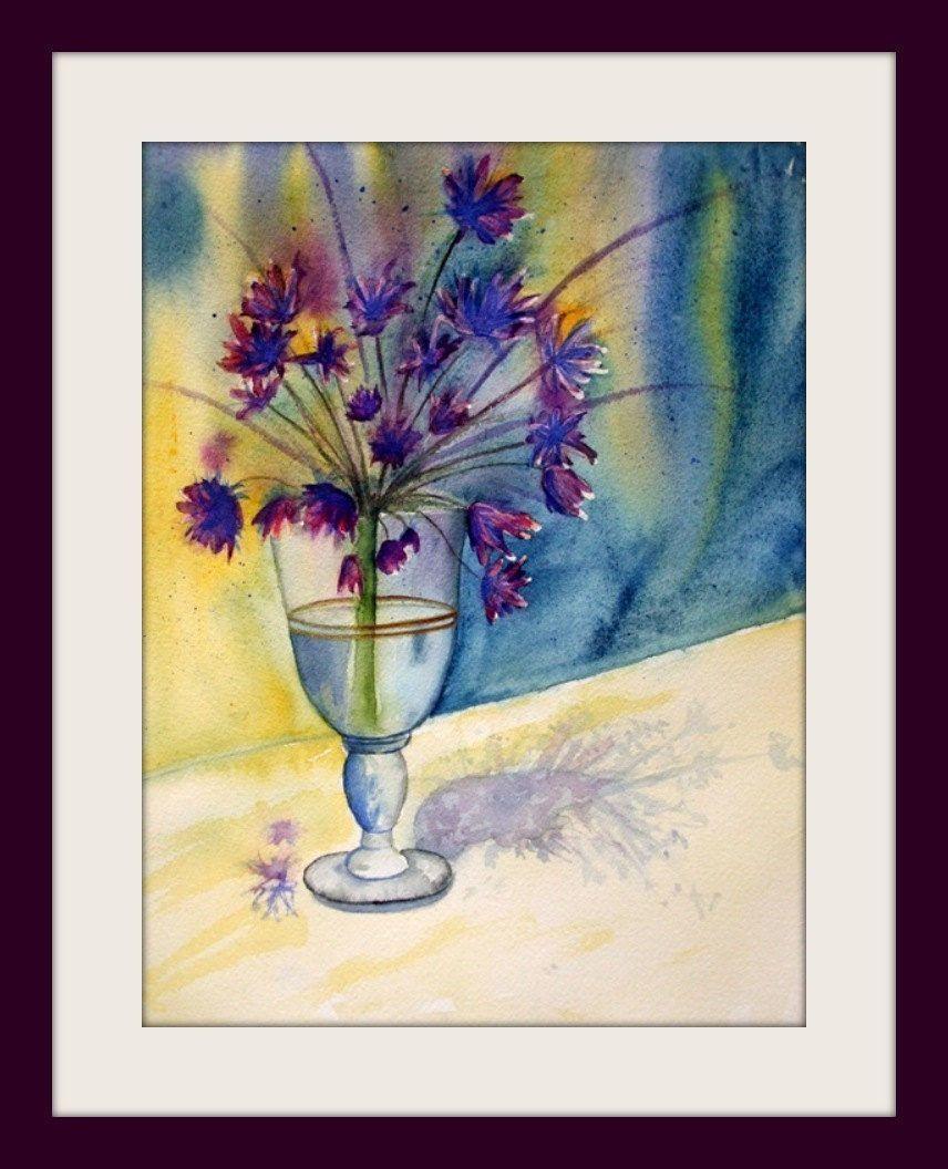 Watercolor - unique - Allium Blossom - Size 24x32 cm | Rahmen und ...