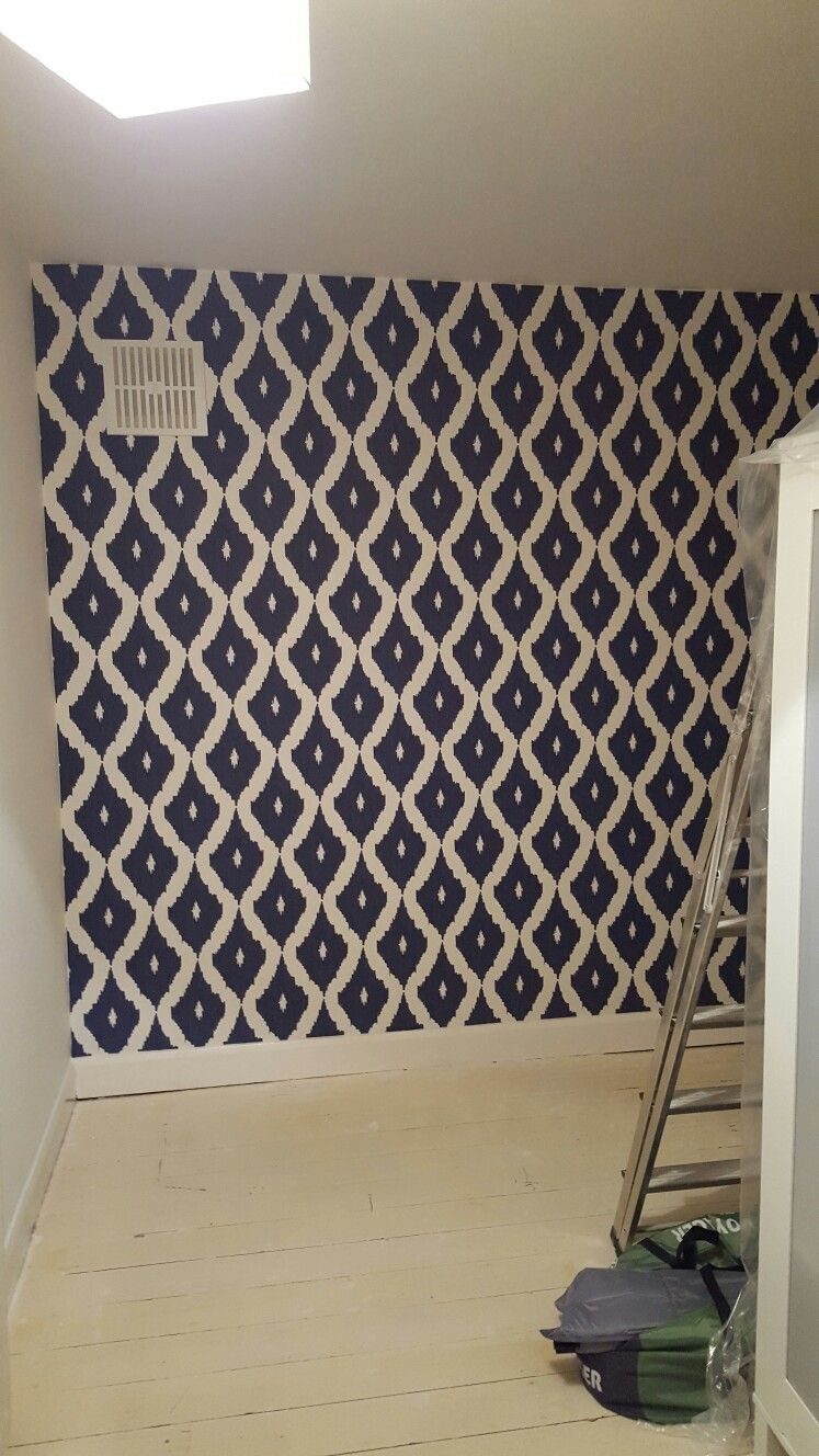 Ikat navy and white wallpaper