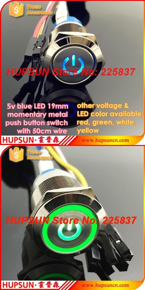 Visit To Buy 3pc Waterproof Led 5v 19mm Metal Push Button Switch W 50cm Wire Momentary Computer Power Buttons Mother Waterproof Led Wire Switch Power Button