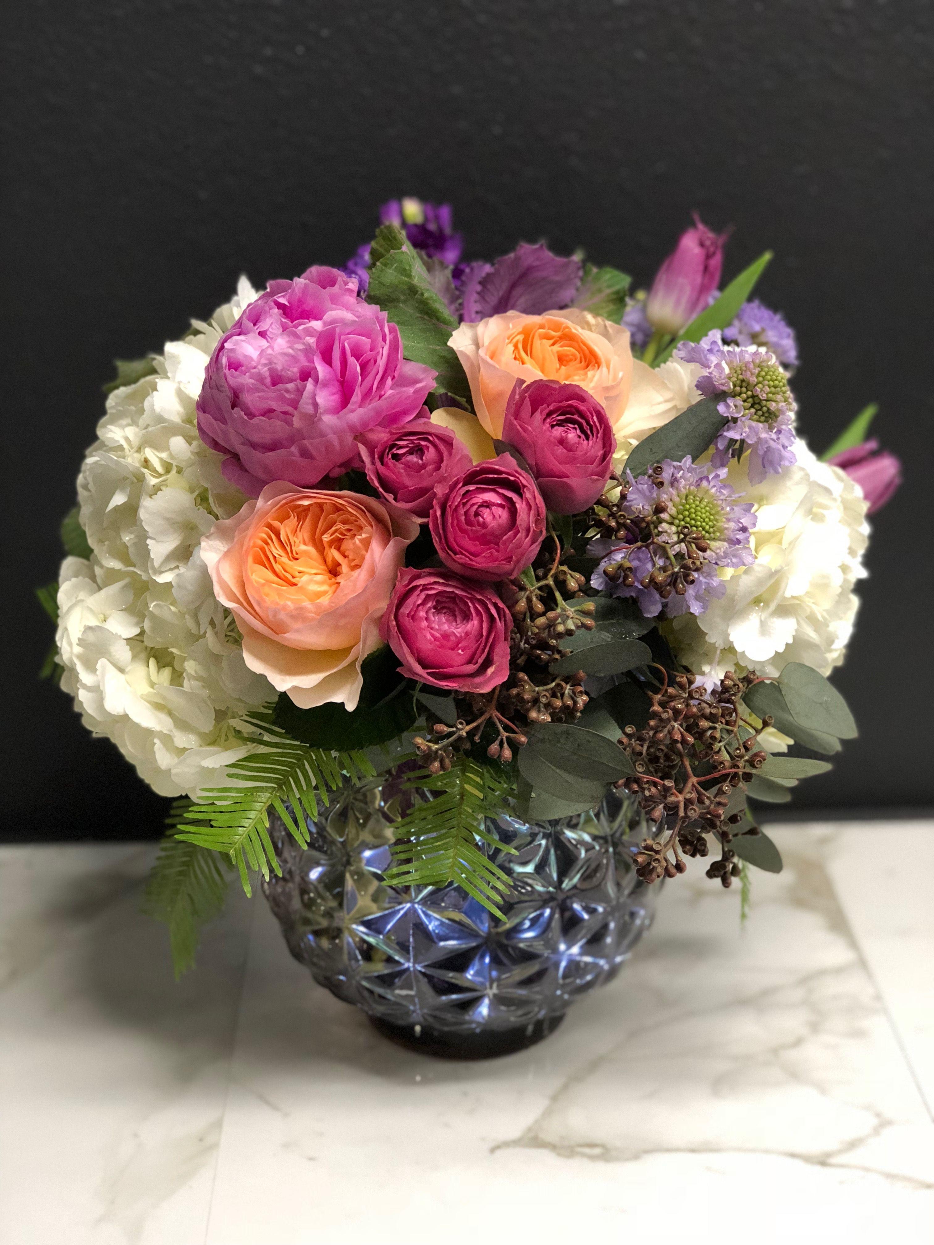 A lovely arrangement of Garden Roses, Peonies, Hydrangea