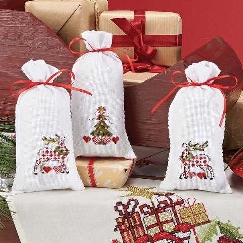 Christmas Pyramid Gift Bags Counted Cross-Stitch Kit - Herrschners ...