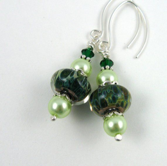 Green Goddess lampwork glass beaded dangle earrings by PaisleyLizardDesigns, $52.00