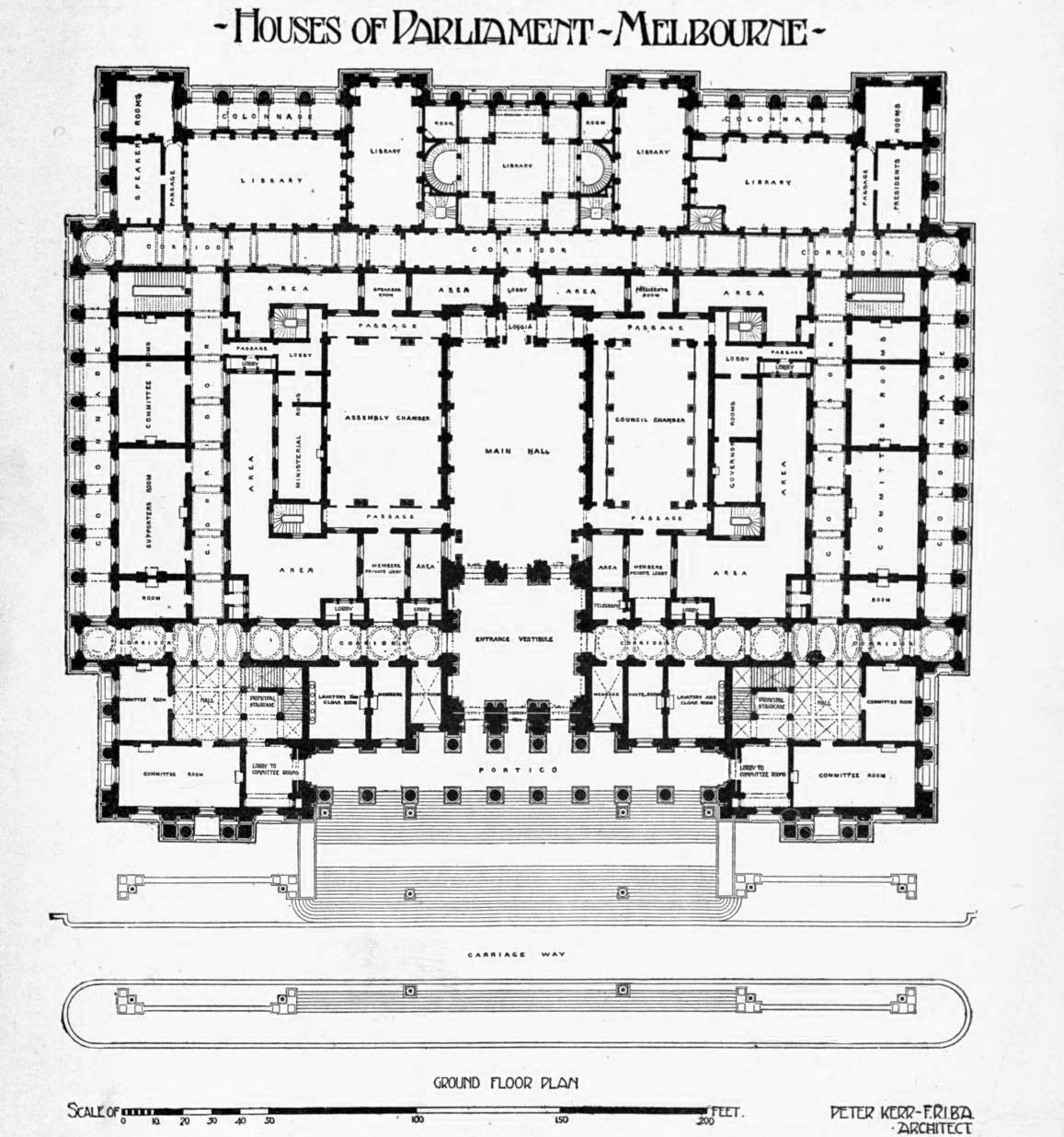 The floor plan of the Houses of Parliament Melbourne