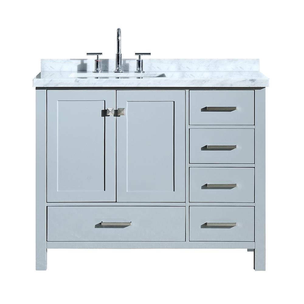 Ariel Cambridge 43 In Bath Vanity In Grey With Marble Vanity Top In Carrara White With White Basin A043slcwrvogry The Home Depot Bathroom Sink Vanity Marble Vanity Tops Single Sink Bathroom Vanity