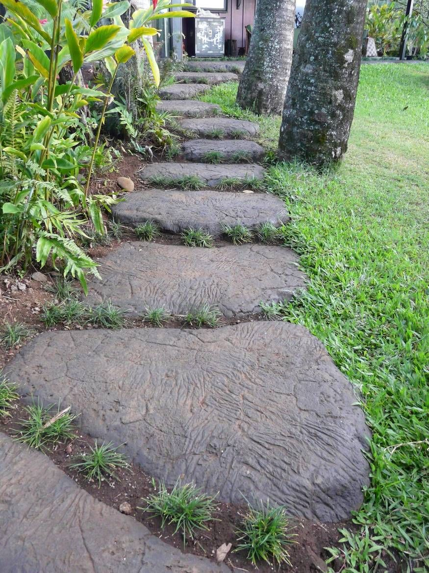 Molded concrete path faux fake imitation rocks for Cement garden paths