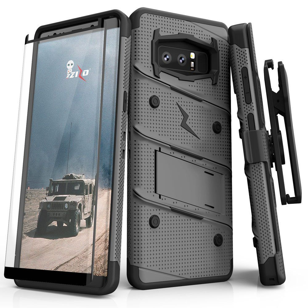 Bolt Series Zizo FREE 12 ft. Military Grade Drop Tested Kickstand Holster Note 8 Orange//Black Curved Full Glass Screen Protector Samsung Galaxy Note 8 Case