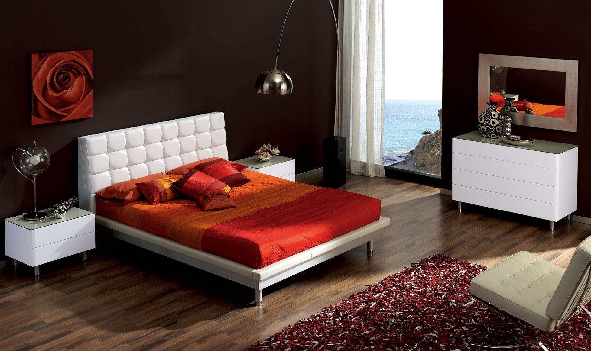 red and white bedroom furniture. White Finish 4 Pcs Toledo Bedroom Set (Bed, Nighstand, Dresser And Mirror) - ESF Furniture Red A