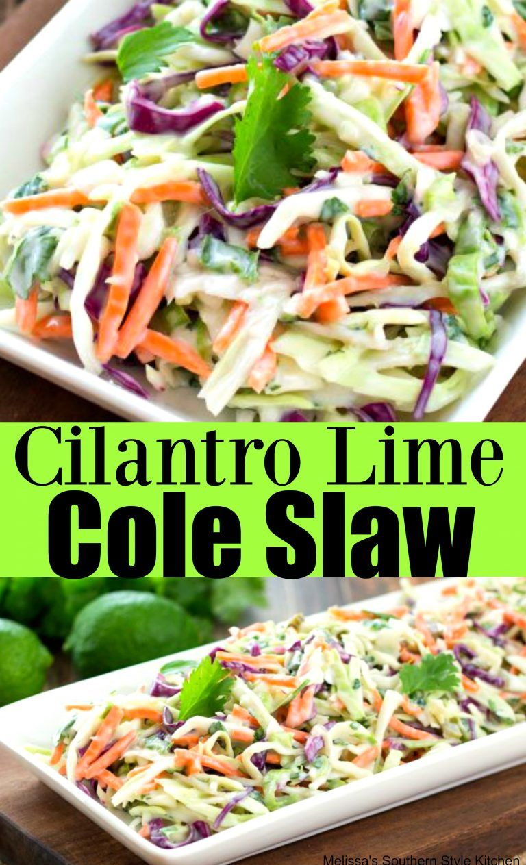 Cilantro Lime Cole Slaw- for Whole30, omit sugar and replace mayo with Whole30 approved mayo #cilantrolimeslaw