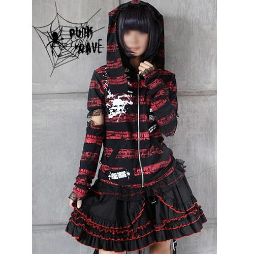 Gothic Goth Girl Fashion: Red And Black Gothic Punk Emo