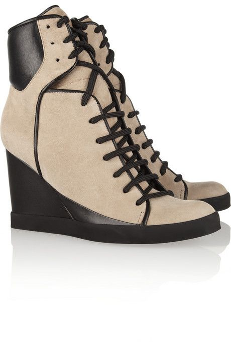Two-tone suede and leather wedge sneakers