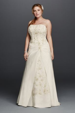 satin aline plus size wedding dress with corset  wedding