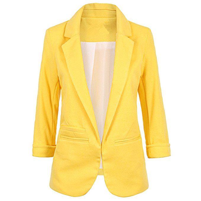 c88efce2c1676 SEBOWEL Women s Fashion Casual Rolled Up 3 4 Sleeve Slim Office Blazer  Jacket Suits Yellow XXL