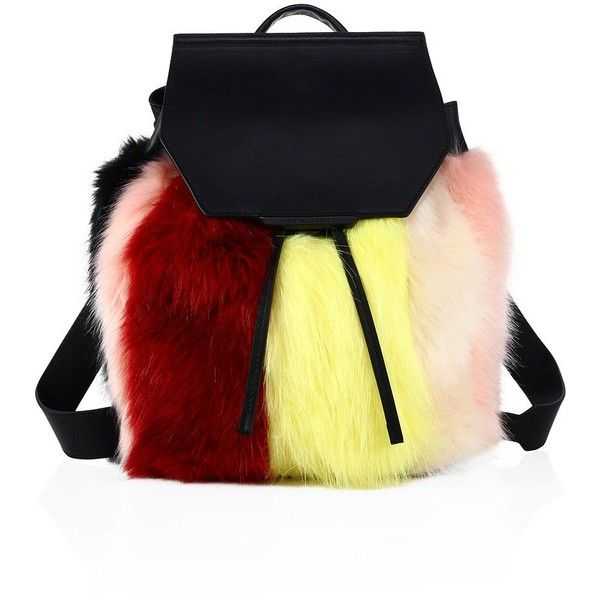 KENDALL + KYLIE Nancy Multi-Colored Faux Fur Backpack (3,295 MXN) ❤ liked on Polyvore featuring bags, backpacks, bolsa, faux-leather backpack, colorful bags, colorful backpacks, top handle bags and multi color backpack