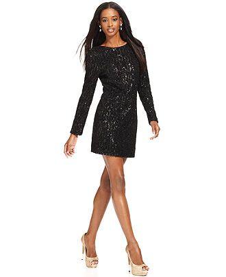 f015c57e MM Couture Dress, Long-Sleeve High-Neck Sequin Sheath - Womens Dresses -  Macy's