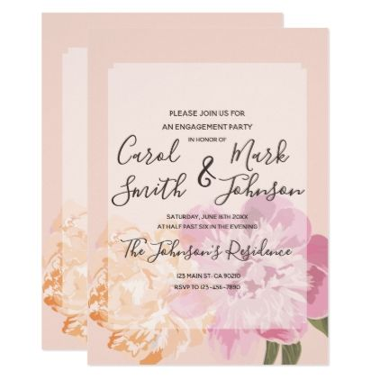 Monogram Watercolor Floral Spring Engagement Card Engagement - engagement card template