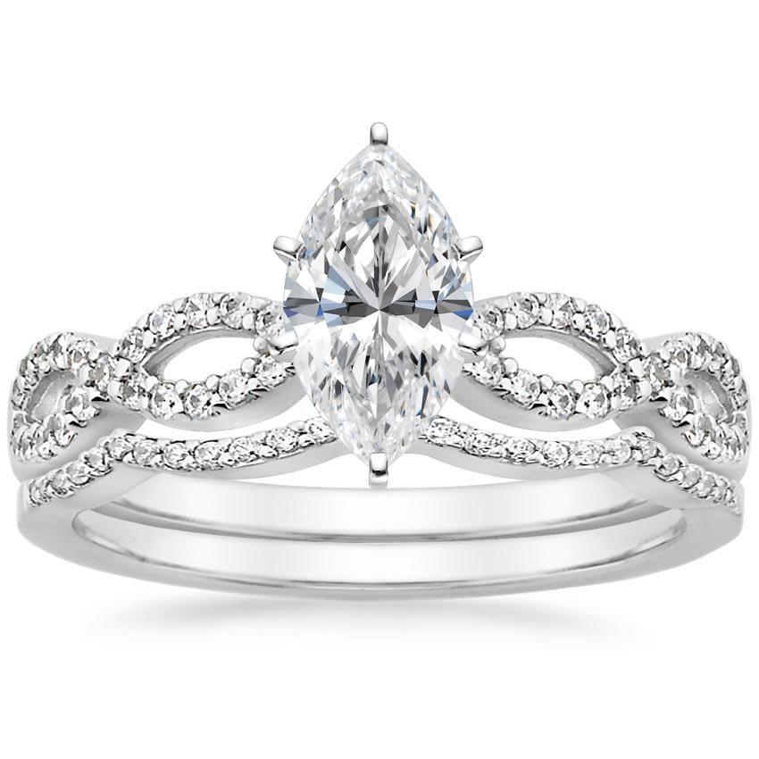 Marquise Cut Infinity Diamond Wedding Ring Set