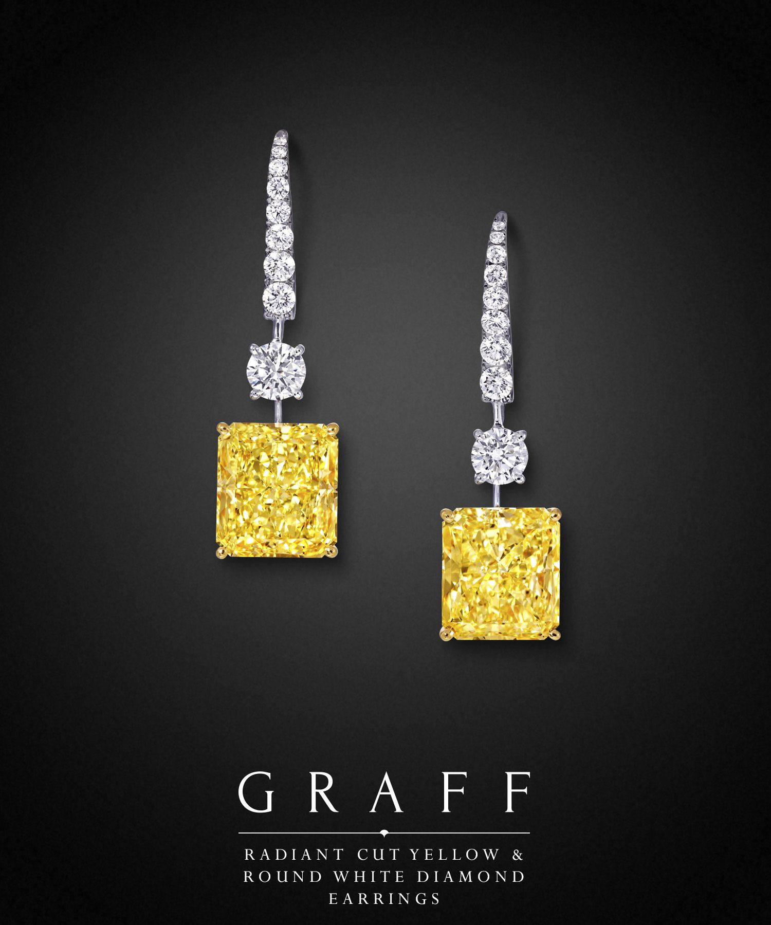 Graff Diamonds Radiant Cut Yellow Round White Diamond Earrings