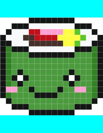 Kawaii Sushi Stickers Muraux Grille Pixel Art Pixel Art