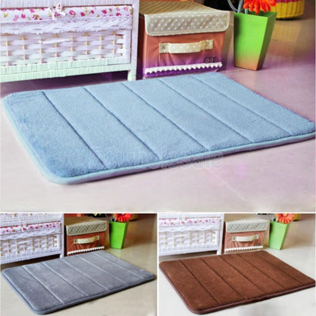 Memory Foam Bathroom Rug Non Slip Anti-Skid Mat Floor Cover Shower ...