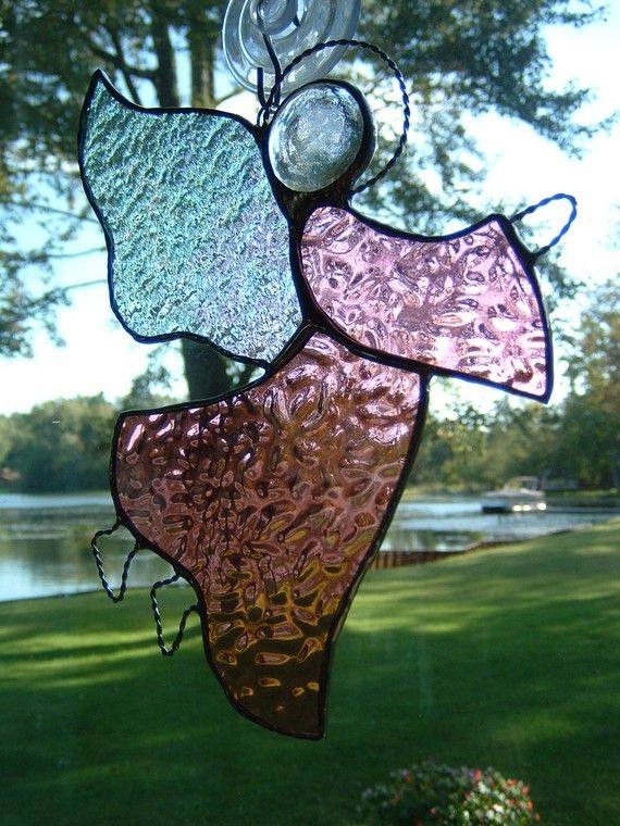 Stained Glass Rose Colored Angel Suncatcher. $18.00, via Etsy.