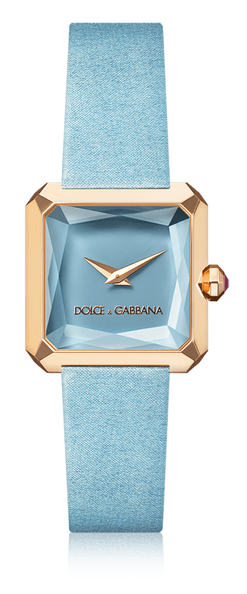 4e74ed769be28c Dolce   Gabbana Sofia  women s watch with gold case, rubies, square case  and pale blue satin strap. Available for online purchase.