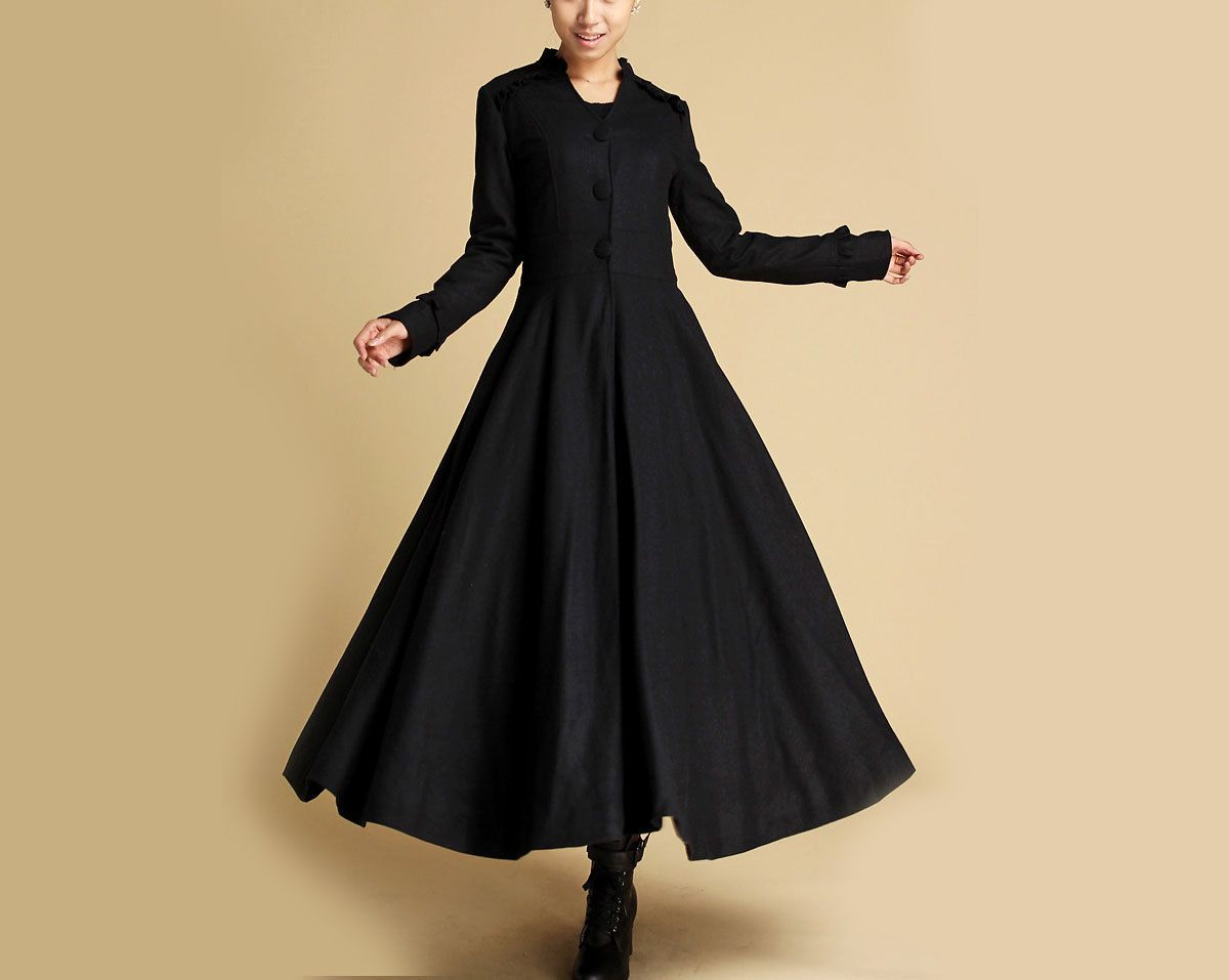 5423d52e3be Long Black coat Winter Coat Maxi Coat Long Wool Coat by xiaolizi ...