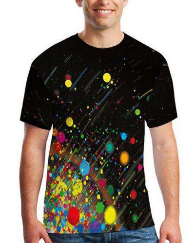 452cdb584d8724 3D paint splatter t shirt colorful polka dot black tee for men short sleeve