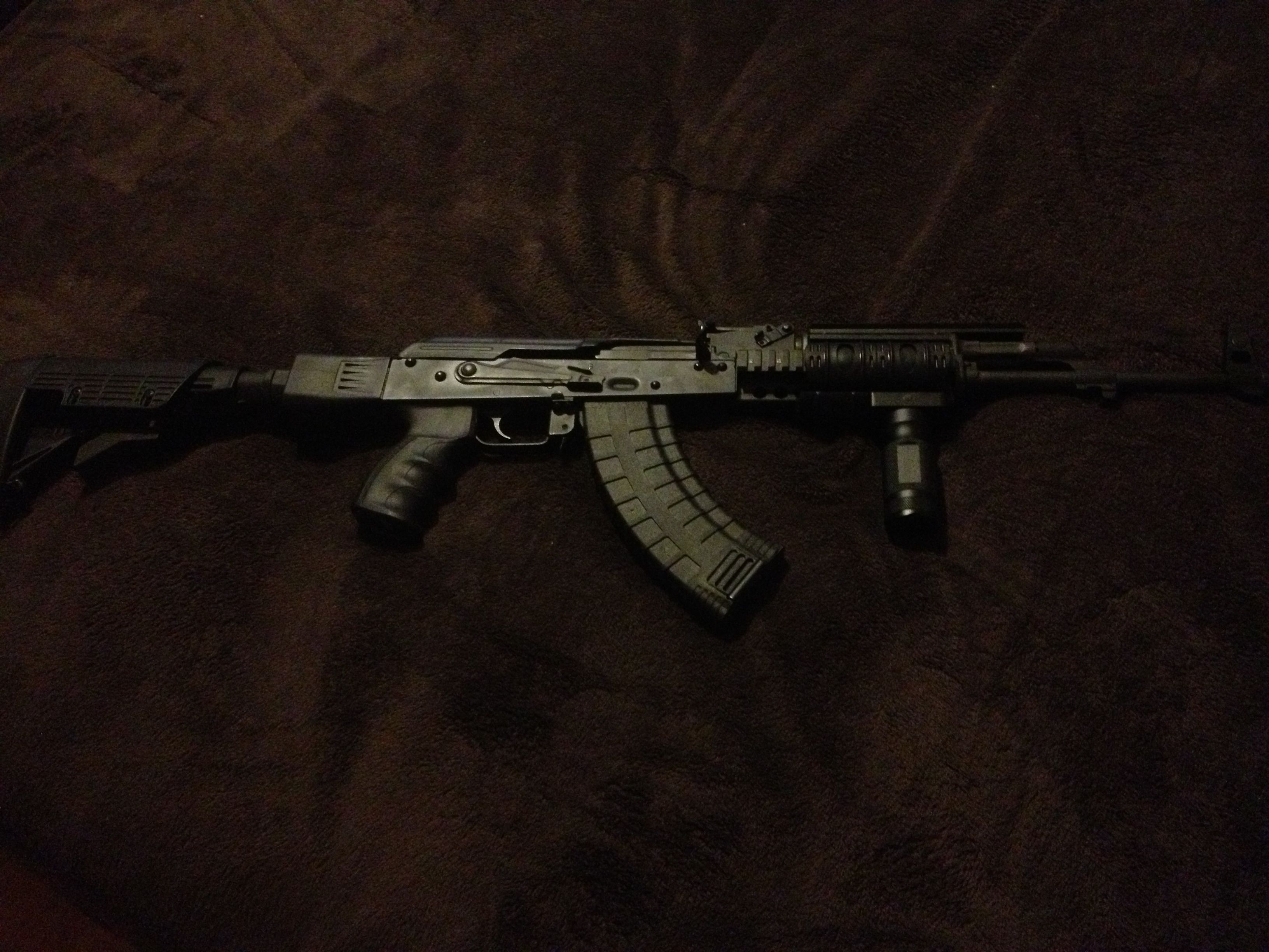 New all aluminum quad rails with forward assist grip added to the AK-47 today
