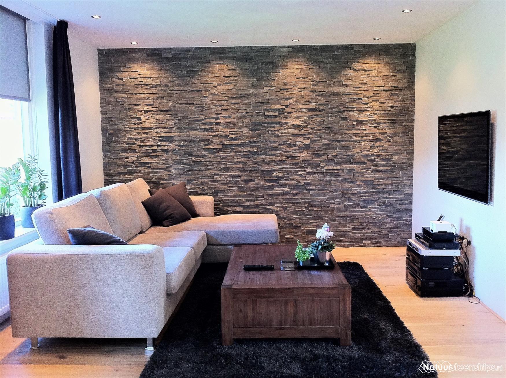Nieuwste Natuursteenstrips Woonkamer : Steenstrips grijs kwartsiet woonkamer wand diverse wall