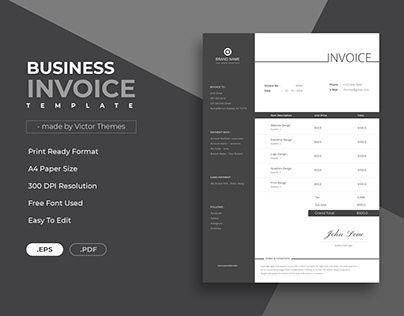 Invoice Template for Personal and Corporate Business use