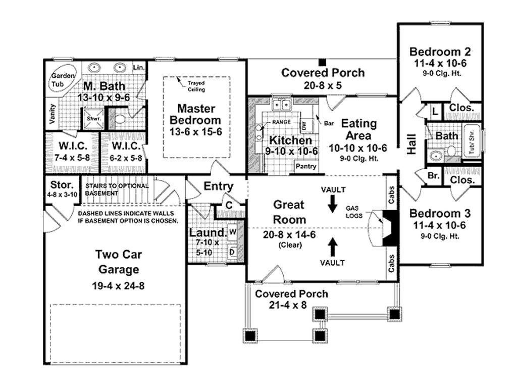 3 bdrm 1500 sq feet open floor plan ranch craftsman for Nice floor plans