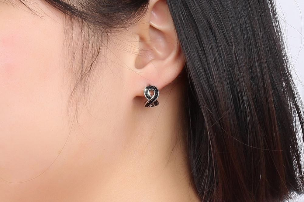 Infinity Black Crystal Stud Earrings For Women Jewelry David Yurman