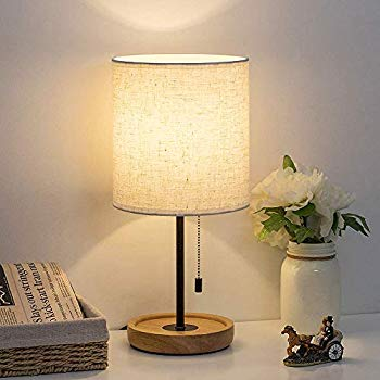 Amazon Com Haitral Wooden Table Lamp Nightstand Desk Lamp With White Shade Pull Chain Switch Bedside In 2020 Desk Lamps Bedroom Wooden Table Lamps Nightstand Lamp