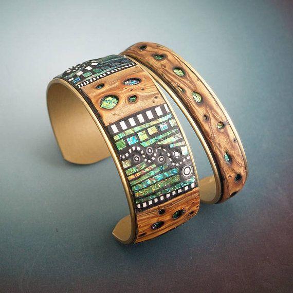 polymer clay Mosaic Brass Cuff Bracelets by Liz Hall