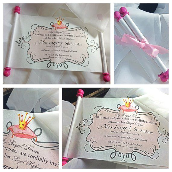 Princess Birthday Invitation Scroll