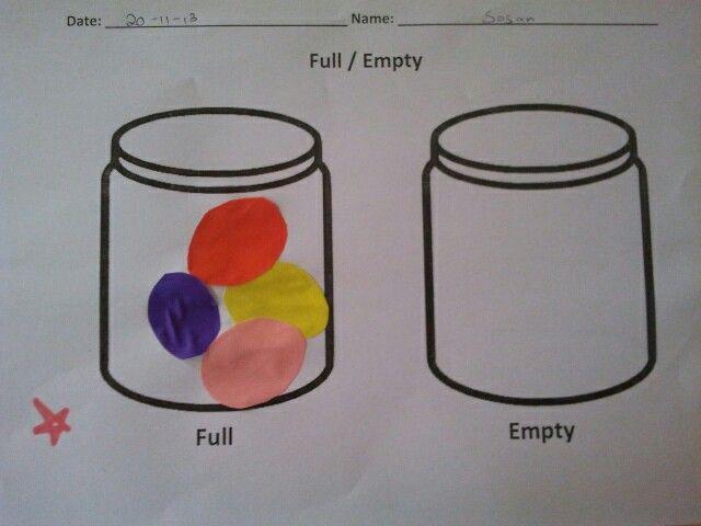 Full/empty worksheet | SKOOL IDEAS | Pinterest