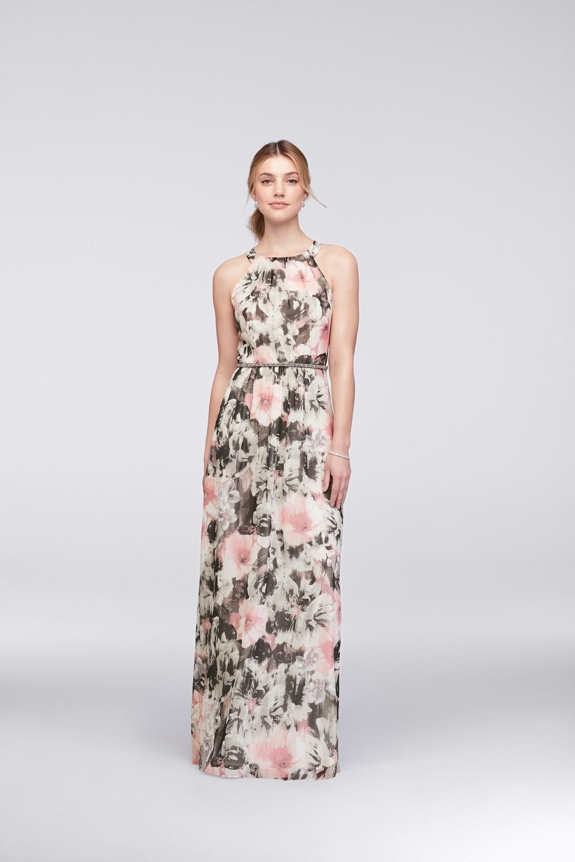 Pink and Black Floral Chiffon Halter Dress with Beaded Belt by SL ...