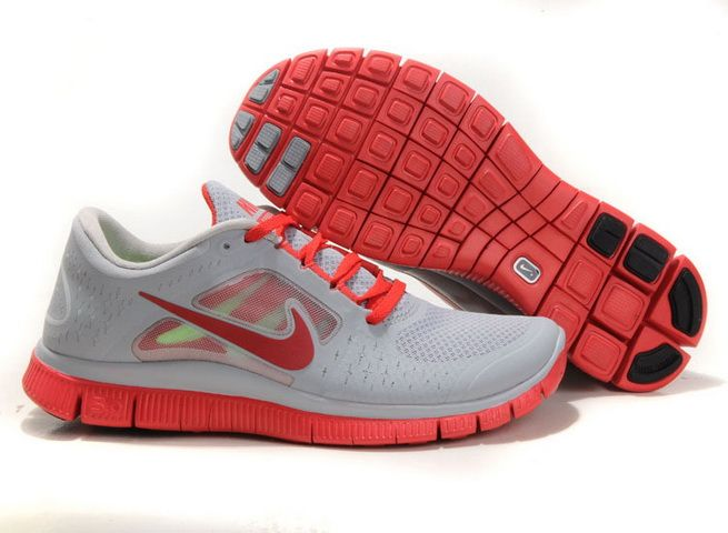 2013 Nike Free Run +3 Mens Grey Red Running Shoes #Grey