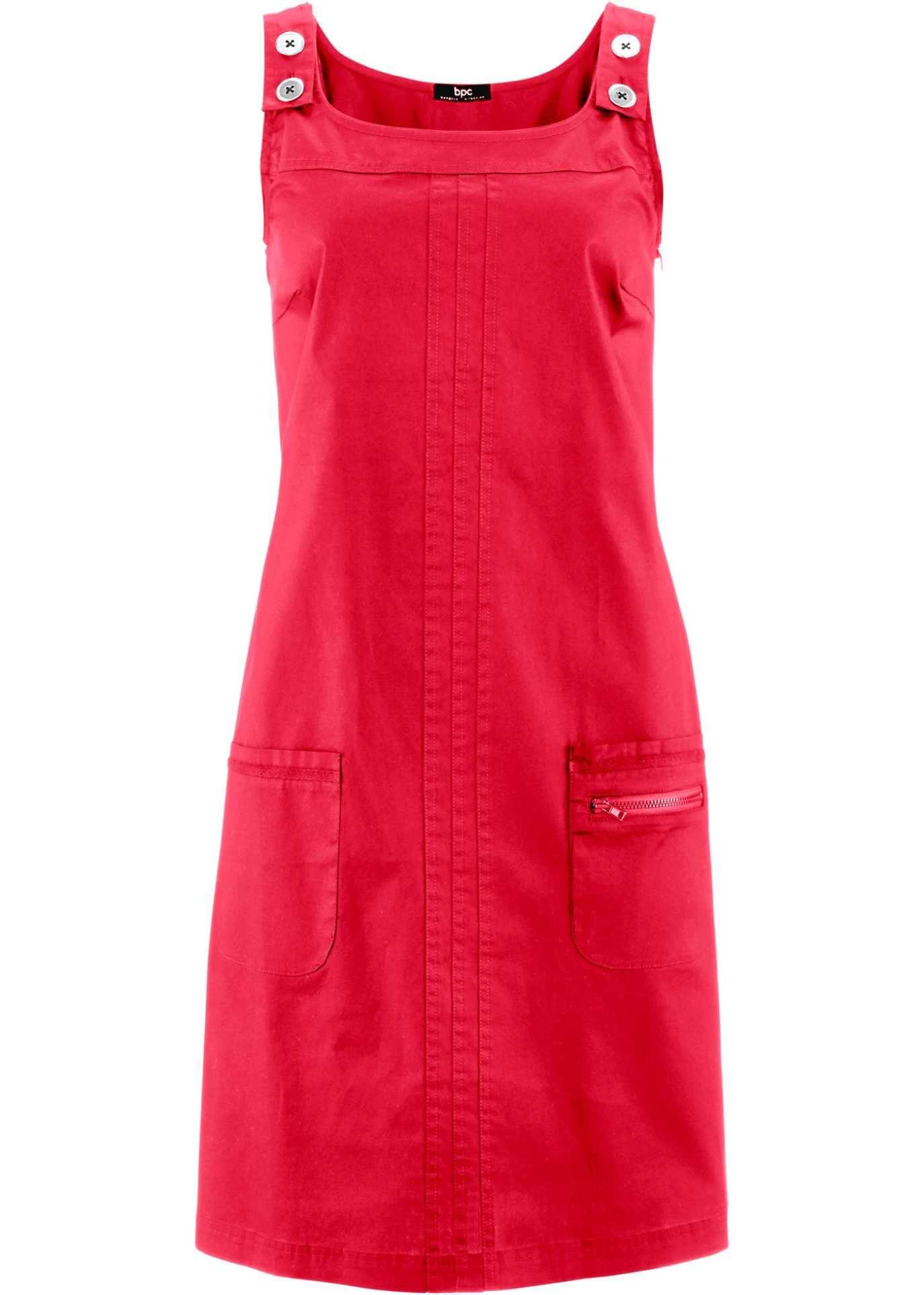 Trager Kleid Mit Aufgesetzten Taschen Rot Kleider Tuch Blusenschnitte