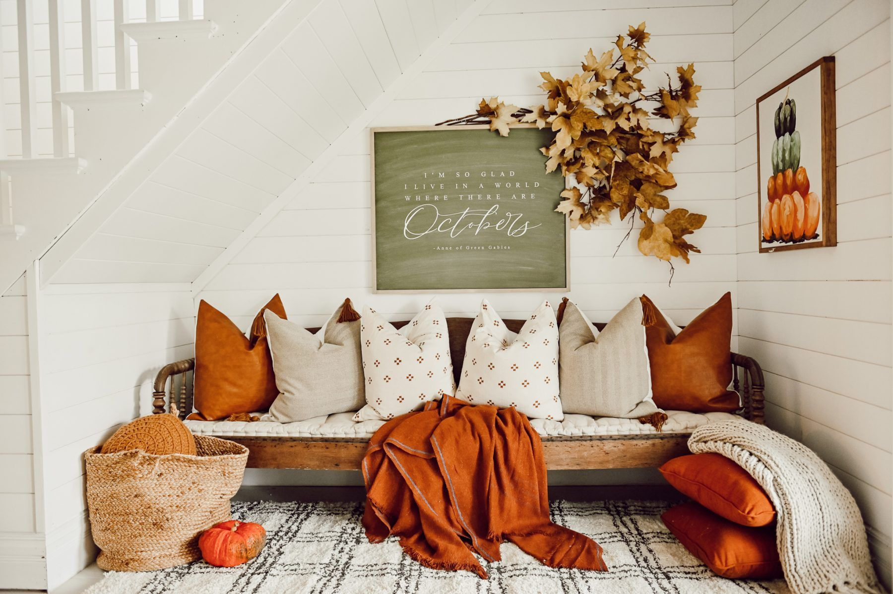 Cozy Fall Nook Under The Stairs Fall Living Room Decor Under Stairs Under Stairs Nook
