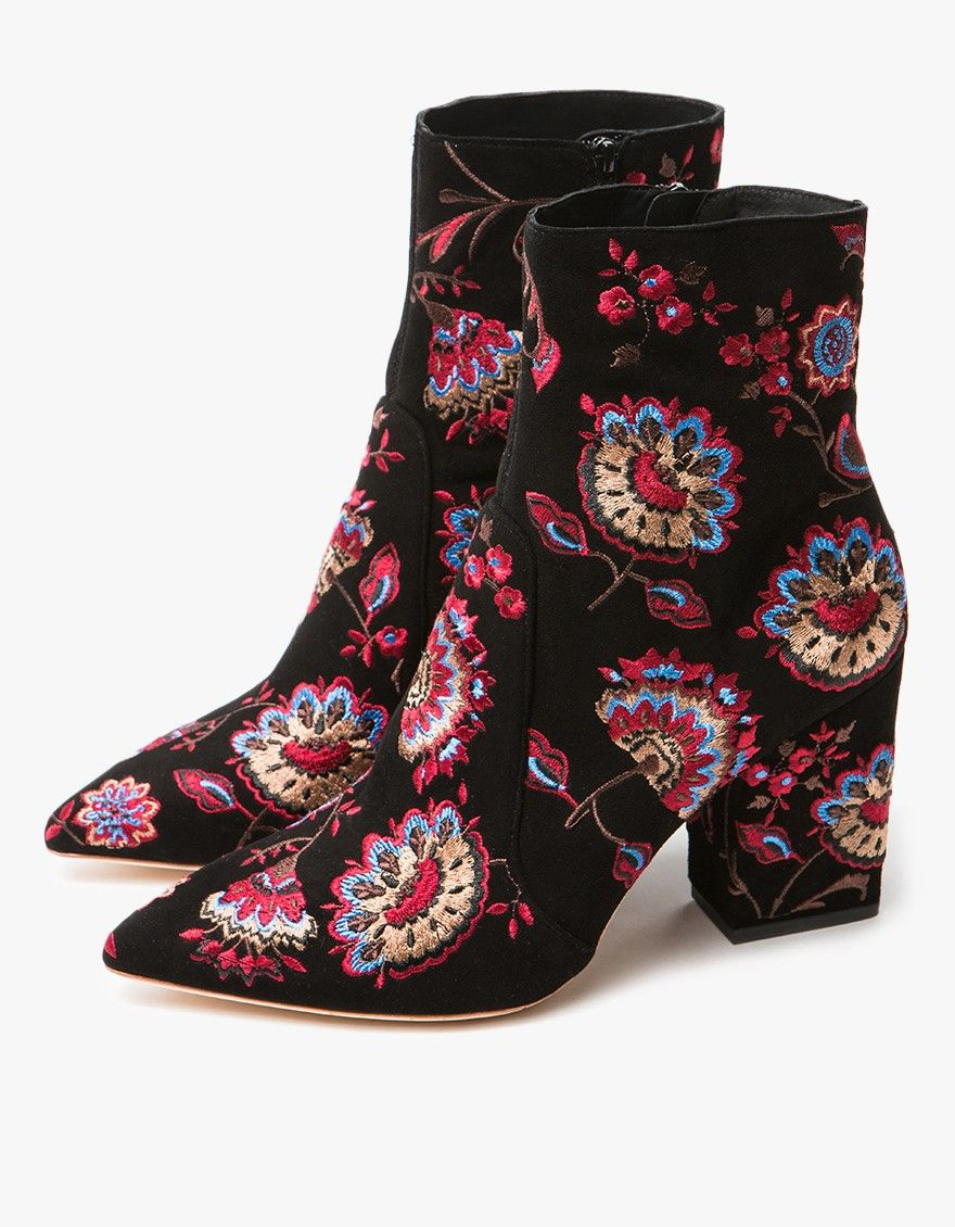 clearance manchester great sale cheap online store Manchester Loeffler Randall Embroidered Suede Ankle Boots QDC1VZ