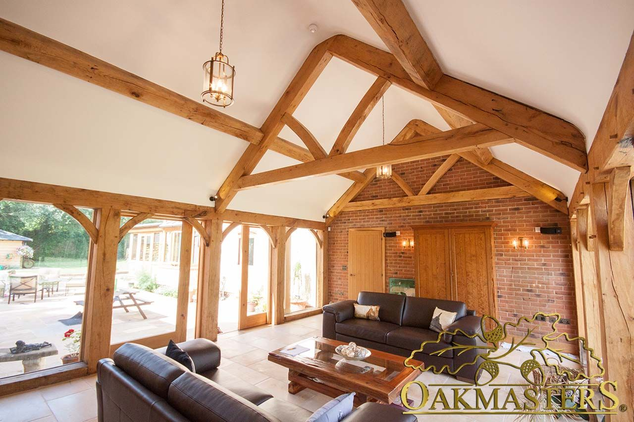 Home interior view interior view of an oak garden room with oak framed ceiling