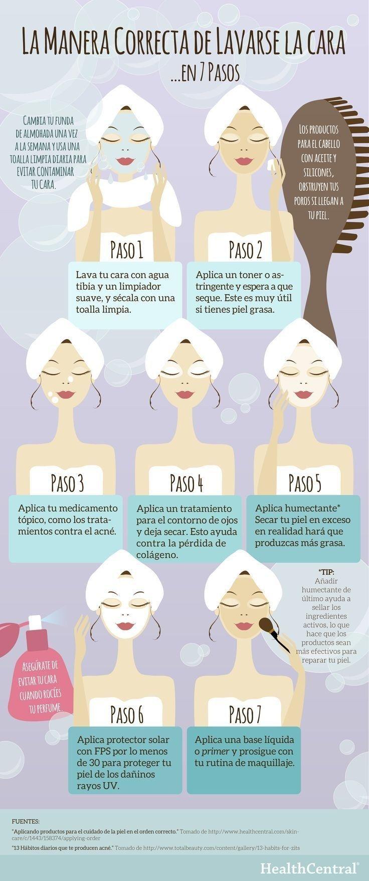 Por si no sabías la manera correcta de lavarte el rostro is part of Beauty hacks - Desde cómo cuidar tu rostro hasta cómo aplicarte rubor correctamente, estas infografías te darán los mejores tips de belleza que puedas imaginar