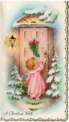 pretty pink angel girl lady woman front door unused vtg. Black Bedroom Furniture Sets. Home Design Ideas