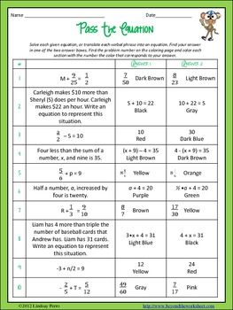 Solving Equations Coloring Worksheets 7 Ee 4 8 Ee 7 Solving Equations Equations Middle School Math