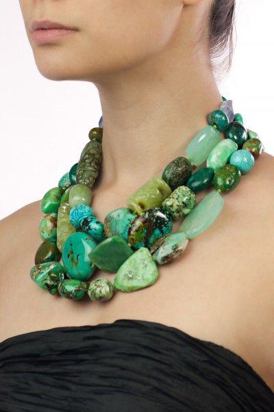 Genuine semi precious turquoise chunky large flat shape stone choker necklace